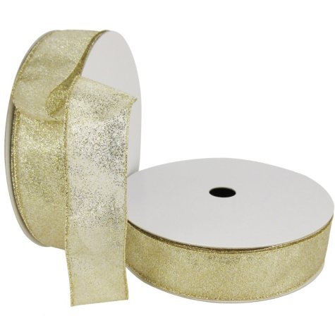 "Member's Mark Premium Wired Ribbon,  Champagne Glitter on Champagne Sheer, 1.5"" Wide (100 yards total, 2 pk.)"