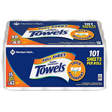 Member's Mark Premium Paper Towel, Huge Rolls (15 Rolls, 101 Sheets)