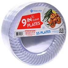 "Member's Mark Clear Plastic Plates, 9"" (55 ct.)"