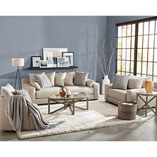 Member's Mark 3-Piece Living Room Set, Gable Sofa, Chair-and-a-Half and Swivel Chair