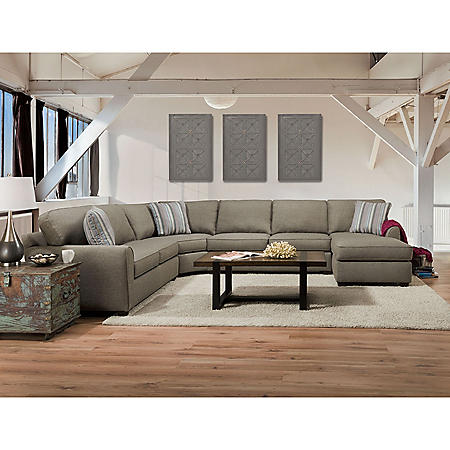 Member's Mark Manhattan Upholstered Sectional with Chaise, Gray
