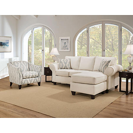 Member's Mark Hale Sofa Chaise and Accent Chair Collection, Cream