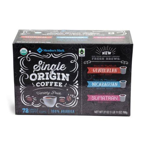 Member's Mark Single Origin Coffee Variety Pack (72 ct.)