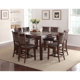 Member's Mark Audrey Counter-Height Table and Chairs, 9-Piece Dining Set