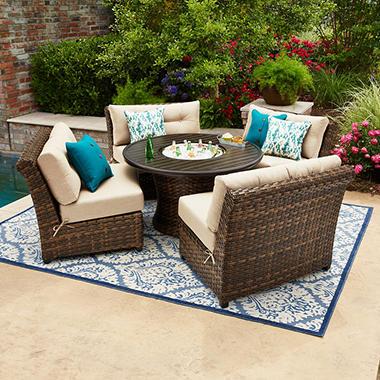 Delightful Best Seller Member S Mark Avery Sunbrella Seating Set With Built In  Beverage Cooler
