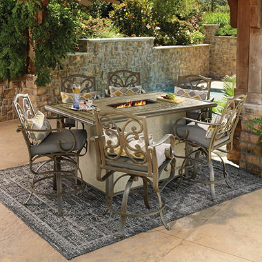 Sams Exclusive Members Mark Waterton Sunbrella Fire Bar Height Dining Set