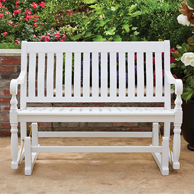 Member S Mark Painted Wood Glider Bench White Sam S Club