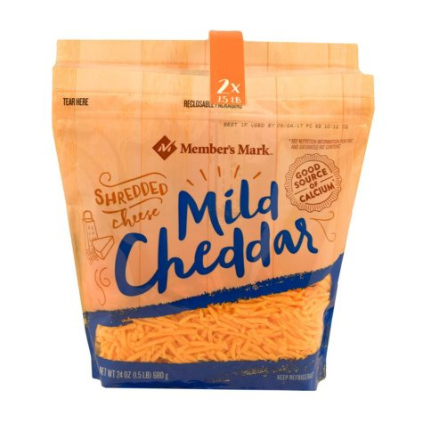 Member's Mark Mild Cheddar Shredded Cheese (2 pk., 3 lbs.)