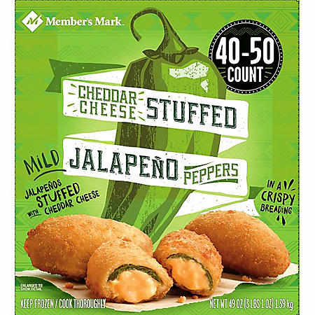 Member's Mark Breaded Cheddar Cheese Stuffed Jalapeno Peppers, Frozen (40-50 ct.)