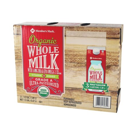 Member's Mark Organic Whole Milk (1/2 gal. cartons, 3 pk.)