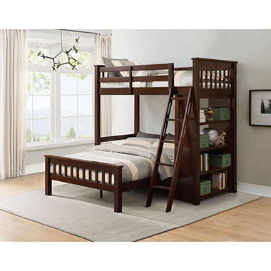 Member S Mark Gabriel Twin Over Full Loft Bunk Bed With Bookshelf Sam Exclusive