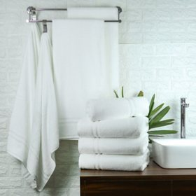 Member's Mark Commercial Hospitality Bath Towels, White, Set of 8