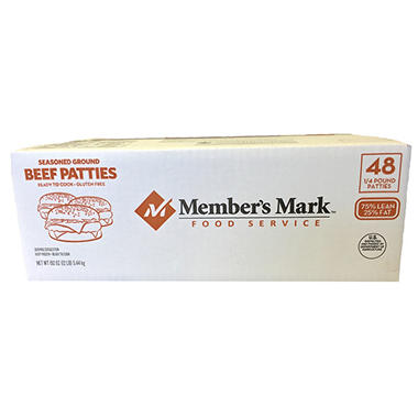 Member's Mark Seasoned Ground Beef Patties (1/4 lb. patties, 48 ct.)
