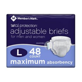 Member's Mark Total Protection Adult Briefs for Men & Women, Large (48 ct.)