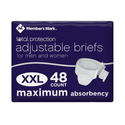 Member's Mark Total Protection Unisex Briefs, Extra Extra Large (48 ct.)