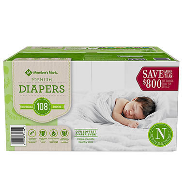 About Diapers. For newborns and toddlers, diapers are an every day need. Sam's Club offers a variety of diapering options to protect your precious baby: Disposable Diapers are thin, absorbent and convenient for everyday use, daycare and on-the-go. Sam's club offers club pack diapers and diapers in bulk for added savings.