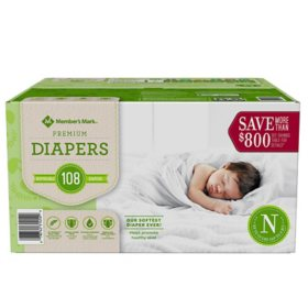 Member's Mark Comfort Care Baby Diapers, Newborn Up to 10 lbs. (108 ct.)