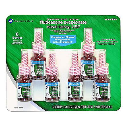 Members Mark Fluticasone Propionate Nasal Spray (6 pk., 0.54 fl. oz. bottle)