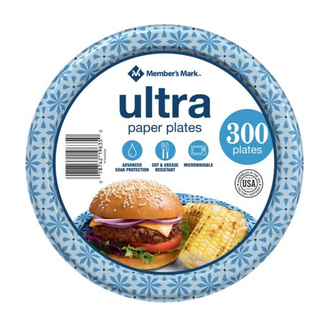 "Member's Mark Ultra 8.5"" Printed Paper Plates, 300ct"