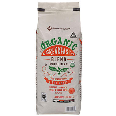 Member's Mark Organic Breakfast Coffee, Whole Bean (40 oz.)