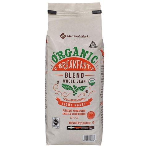 Member's Mark Organic Breakfast Coffee, Whole Bean (40 oz.)