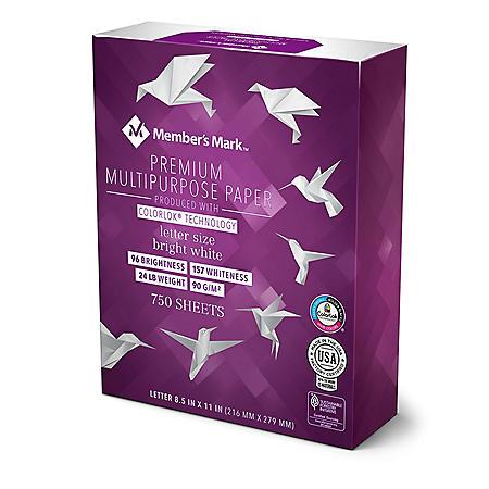 "Member's Mark Bright White Multipurpose Paper, 24 lb., 96 Bright, 8.5 x 11"" - 750 Sheet Mega Ream"