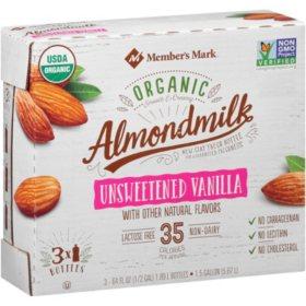Member's Mark Organic Unsweetened Vanilla Almondmilk (3 pk., 64 oz.)