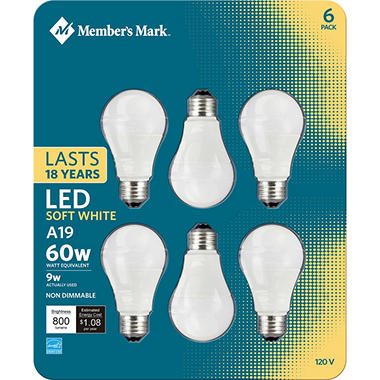 Member's Mark 9W A19 Soft White LED (6 pk.)
