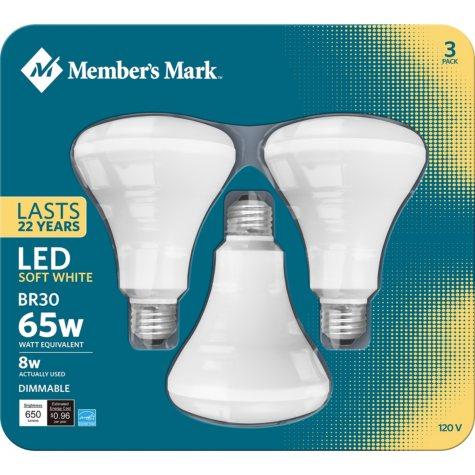 Member's Mark 8W Dimmable BR30 LED Flood Light , Soft White (3 pk.)