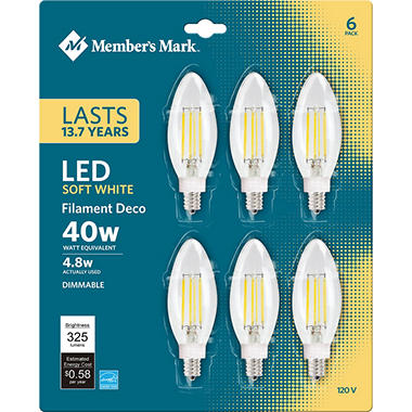 Member's Mark 5W Dimmable Candelabra Soft White LED, Clear (6 pk.)