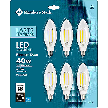 Member's Mark 5W Dimmable Candelabra Daylight LED, Clear (6 pk.)