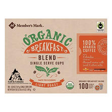 Member's Mark Organic Breakfast Blend Coffee (100 single-serve cups)