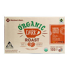 Member's Mark Organic Dark Roast Coffee (100 single-serve cups)