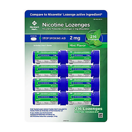 Member's Mark 2 mg Nicotine Polacrilex Lozenges, Stop Smoking Aid, Mint Flavor (27 ct., 8pk.)