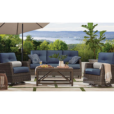 Members Mark Agio Fremont 4 Piece Patio Deep Seating Set With Sunbrella Fabric Indigo