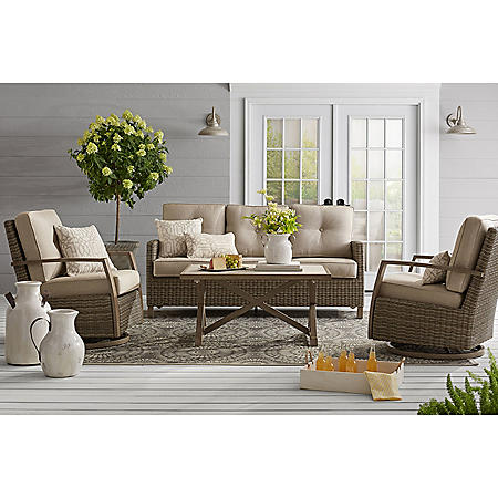 Member's Mark Agio Heartland 4-Piece Deep Seating Set with Sunbrella Fabric