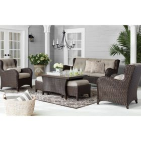 Swell Members Mark Agio Heritage 6 Piece Deep Seating Patio Set With Sunbrella Fabric Shale Unemploymentrelief Wooden Chair Designs For Living Room Unemploymentrelieforg