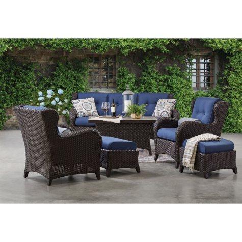 Member's Mark Agio Heritage 6-Piece Deep Seating Patio Set with Sunbrella® Fabric - Indigo