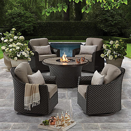 Member's Mark Agio Heritage 5-Piece Outdoor Fire Pit Chat Set with Sunbrella® Fabric