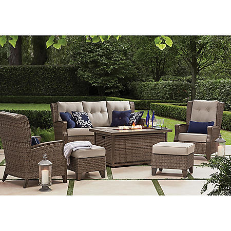 Member's Mark Agio Newcastle 6-Piece Patio Deep Seating Set with Fire Pit and Sunbrella Fabric, Cast Ash