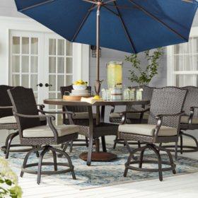 Member's Mark Agio Heritage 7-Piece Balcony Height Patio Dining Set with Sunbrella® Fabric