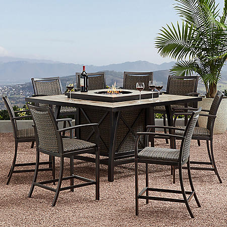 Member's Mark Agio Denver 9-Piece Balcony Height Fire Pit Dining Set