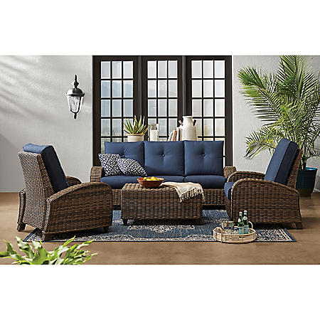 Member's Mark Travers Bay Fully Woven 4-Piece Aluminum Deep Seating Set