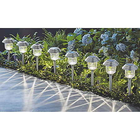 Member's Mark 8-Piece LED Solar Path Lights (Stainless Steel)