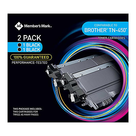 Member's Mark Remanufactured Brother TN450 (2 pk., 2 Black Toner Cartridges)