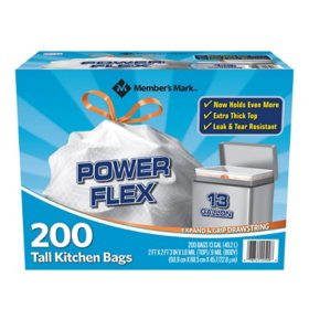 Member's Mark Power Flex Tall Kitchen Drawstring Bags (13 Gallon, 200 Count)