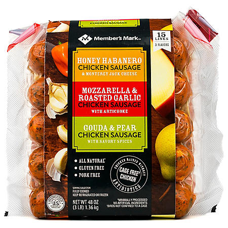 Member's Mark Chicken Sausage Griller Pack (5 links per flavor, 15 total links)