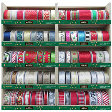 members mark premium wired holiday ribbon assorted colors and patterns - Wired Christmas Ribbon