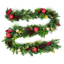 Member's Mark 9' Premium Decorated Garland, Red