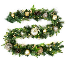Member's Mark 9' Premium Decorated Garland, Gold